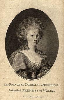Carolina di Brunswich-Wolfenbuttel nel 1795 prima del suo matrimonio con il futuro Giorgio IV. (fonte Wikipedia).