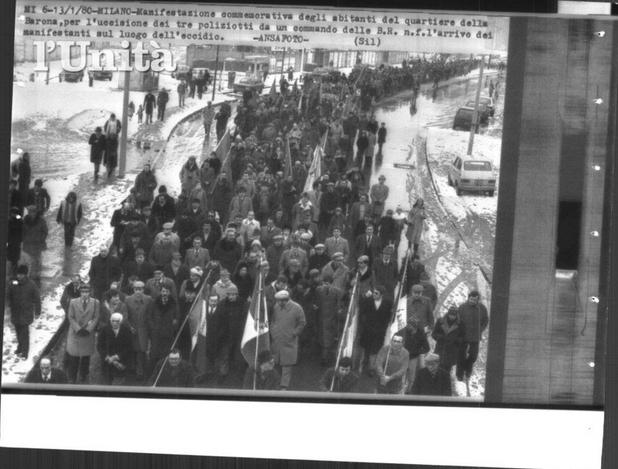 Milano Barona-Ticinese, Via Schievano,13-1-1980 Manifestazione Comitati abitanti di quartiere contro l'eccidio dei tre agenti di PS