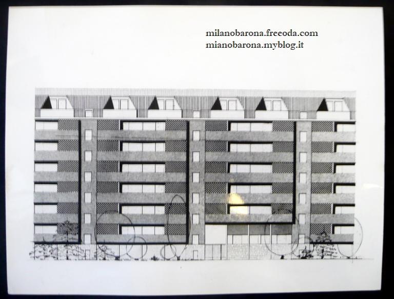 Milano 1963 circa. Disegni architetturali delle palazzine del plesso di residenza popolare Quartiere Sant'Ambrgio 1 (I°) nel lotto sud orientale della Barona. (Fonte fotografica: web Lombardia beni culturali)
