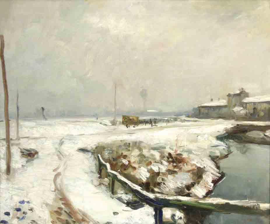 Nevicata sul Lambretto alla Barona 1926 circa. Sullo sfondo la Cascina Lavandai. Fonte Fondazione Maimeri http://mostreinrussia.giannimaimeri.it/