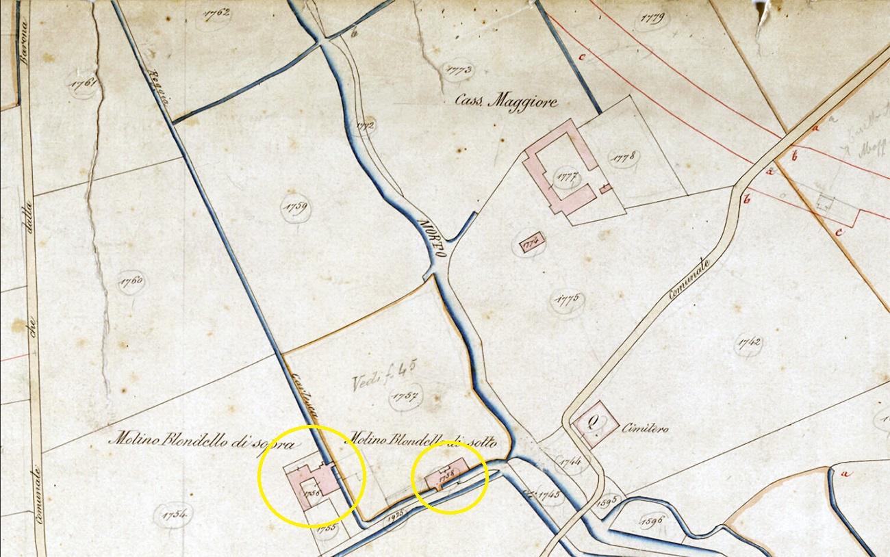 Catasto Lombardoveneto antecedente al 1861, La foto proviene dai monopolisti di skyscrapercity (non è reperibile, in apparenza, presso altri web, seguendo le ricerche di google immagini...). Dalla cartografia sono evidenziati, con due cerchiolini gialli, le ubicazioni dei Mulini Blonde di sopra (a sinistra) e di sotto (a destra). Il Mulino Blondel di sotto giaceva nell'area che negli anni '30 del 1900 avrebbe ospitato il Deposito Victoria di carburanti. Forse la MAIMERI inizio' l'attività nel mulino Blondel di sotto per poi trasferire laboratori e miscelatori nell'ex Mulino Blonde di sopra, posizionato a circa una cinquantina di metri piu' a nord-ovest, in allineamento al civico 17 di una Via Ettore Ponti che ancora non esisteva...come arteria stradale.