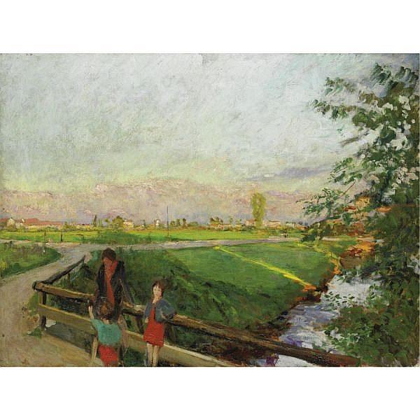 Olio su tela di Gianni Maimeri, 1932 circa. Ponticello del Lambretto alla Barona.