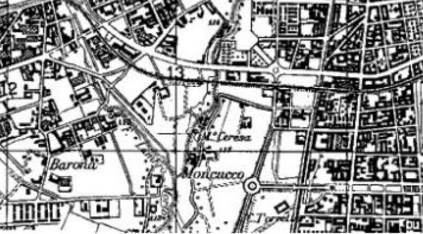 Barona-Moncucco-Torretta nella cartografia del 1951 aggiornata al piano regolatore che prevedeva, entro il 1960 il completamento della Piazza Maggi (all'ora inesistente), Via Spezia e il futuro Q.re Torretta (la sua realizzazione venne preceduta dalla demolizione della Cascina Torretta la cui ubicazione è visibile nel riquadro destro inferiore della mappa). Nell'immediato dopoguerra la Via S. Rita da Cascia doveva ancora essere completata nel tratto Via Modica Piazza Miani... mentre Viale Famagosta era solo una strettissima via sterrata di campagna.