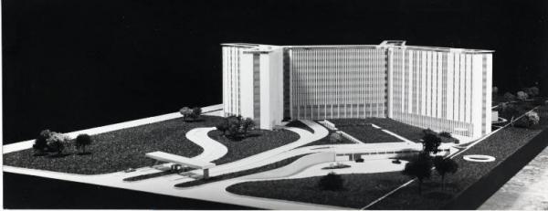 Plastico progettuale dell'Ospedale San Paolo alla Barona, futura via Antonio di Rudini (fine anni '60, da Lombardiabeniculturali.it)