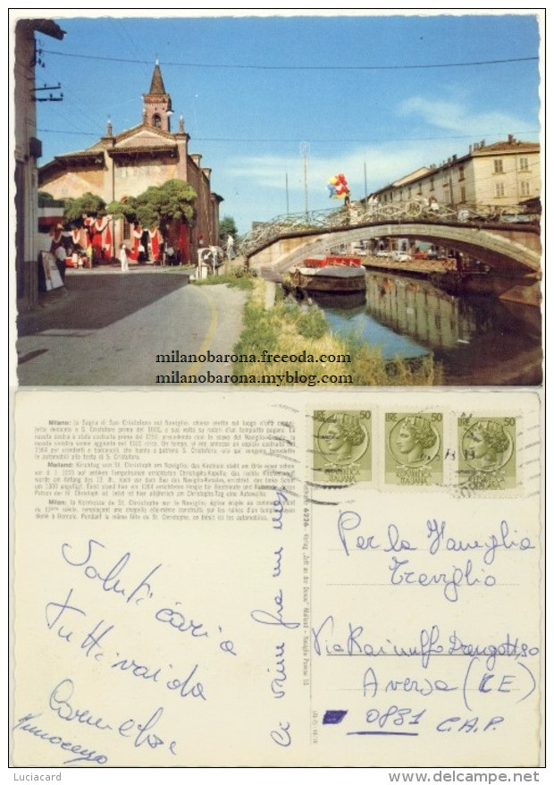 """Milano 1970 circa Sagra di San Cristoforo (cartolina a colori """"viaggiata""""). Fonte fotografica delcampe.net"""