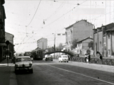 Il vecchio e storico bivio del tram 12, Via Pestalozzi-Lodovico il Moro, anno 1964.