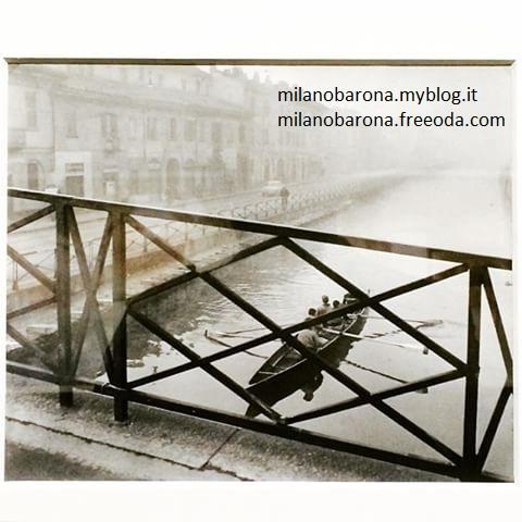 Vogatori Canottieri Milano, dal Ponte di San Cristoforo sul Naviglio Grande, Anni '50 del 1900 (foto di Paolo Monti) da imgrum.net (inserito il 19/1/17)
