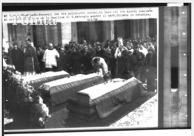 Milano 10-1-1980 Basilica di Sant'Ambrogio, cerimonia funebre