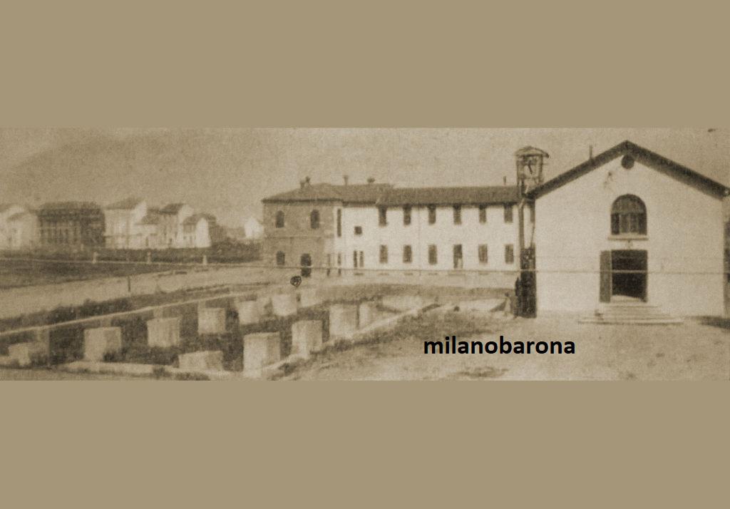 """Milano 1930 circa. Chiesa Rossa-""""Baia del Re"""". Via Montegani. Avvio lavori per la costruzione della Chiesa (Tempio) di Santa Matia Annunciata in Chiesa Rossa."""