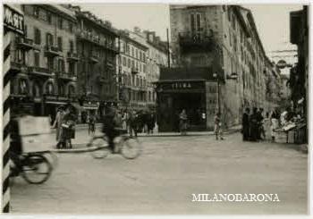 Milano 1949 Porta Venezia. Piazza Oberdan e la biforcazione Via Spallanzani e Corso Buenos Aires. (fonte: web fotografieincomune)