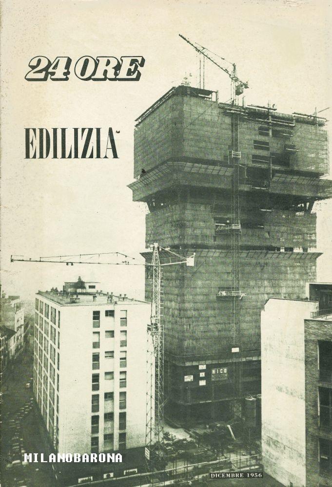 """Torre Velasca in costruzione nel 1956 (attualmente considerata come un'espressione del """"brutalismo"""" architettonico italiano, ovvero dell'uso massiccio di cementi e calcestruzzi nella realizzazione di edifici residenziali e per uso uffici e religioso). Fonte immagine web arengario."""