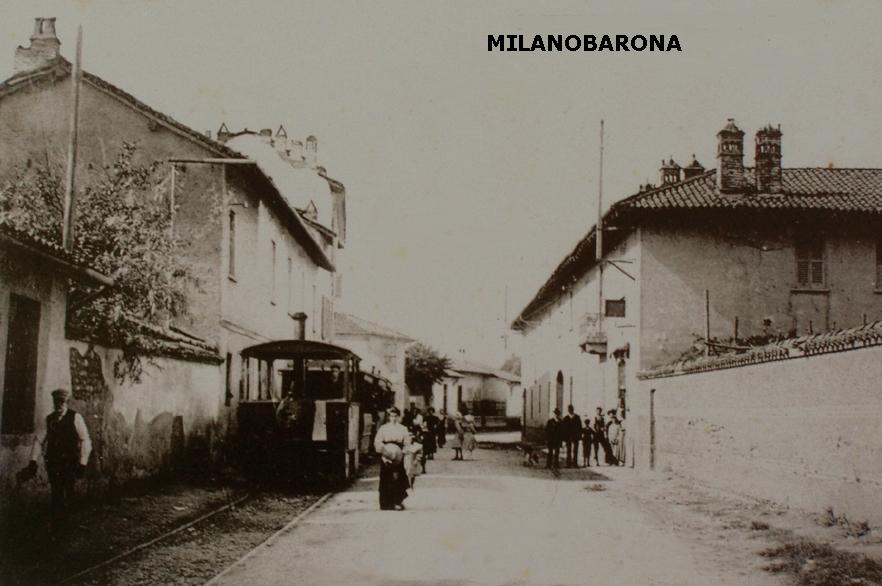 """Castano Primo (Mi), inizio 900, immagine qualificata come Via Tadini. In evidenza il capolinea extraurbano del """"Gambadelegn"""" della tratta Porta Magenta-Castano Primo."""