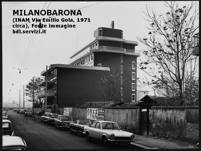"""Ticinese 1971 circa. INAM - Sezione Territoriale e Poliambulatorio 'Milano - Ticinese', via Emilio Gola. La struttura andava a sostituire uffici e ambulatori ospistati presso la ex Clinica Ronzoni. La medesima Ronzoni venne integralmente migrata presso l'Ospedale San Paolo alla Barona verso il 1979. La palazzina ritratta, come molti ricorderanno... veniva chiamata la """"Mutua""""... alcuni ricorderanno anche, lungo Via Argelati (davanti al muro di cinta della omonima piscina, negli anni '70, l'ambulatorio pediatrico del Dr. Pascucci (territorialmente copriva anche ampi settori della limotrofa Barona, ex CDZ Zona 16)."""