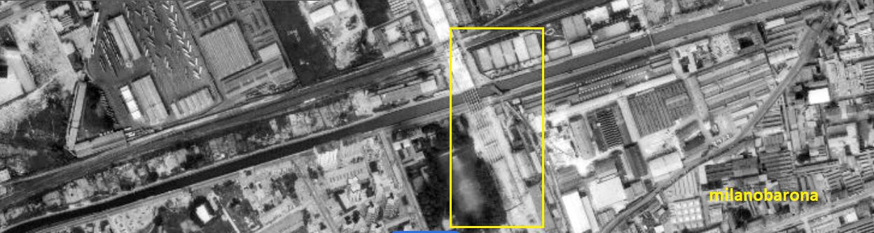 Milano Maggio 1975, Barona San Cristoforo-Giambellino. Immagine satellite Landsat del Cavalcavia Don Luigi Milani in costruzione.
