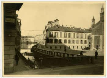 Milano Borgonuovo/Porta Nuova. Fossa interna dei Navigli (Cerchia dei Navigli) anteriore al 1929-30, Via San Marco.(fonte: fotografieincomune-comune-milano)