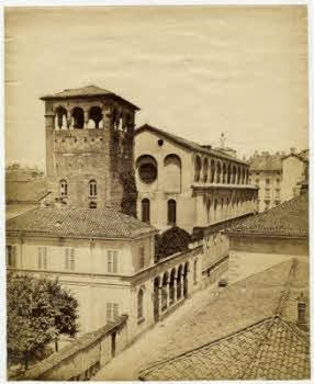 Milano 1872 (tra Cordusio e l'ex Porta Vercellina). Via Bernardino Luini. Chiesa di San Maurizio (fonte; fotografieincomune.comune.milano)