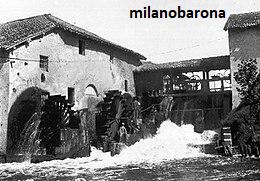 Milano fine 1800. Vigentino, tra Via Rutilia e Via Serio. Mulino Vettabbia. (fonte fotografica wikimedia).
