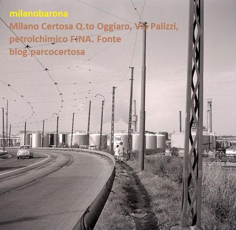 Milano 1965 circa. Certosa Quarto Oggiaro, Via Palizzi, Petrolchimico FINA.