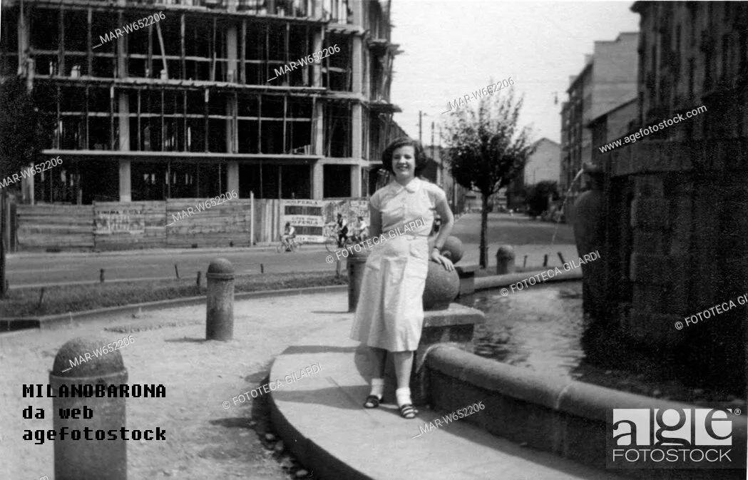 Bovisa 1952. Piazza Bausan. Fonte dell'immagine sovraimpressa nella medesima.