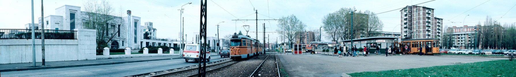 Niguarda 1988, Piazza dell'Ospedale Maggiore, tranvia Milano-Desio. (fonte immagine. web hrohrer.ch)