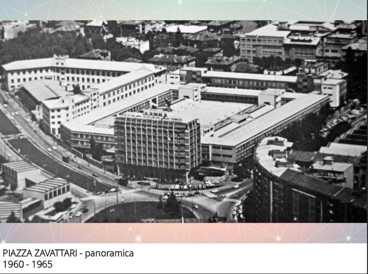 Ex zona Fiera Campionaria (oggi denonimata area Fiera Milanocity), 1963 circa, Panoramica aerea di Piazza Zavattari. (fonte web identitamilano.it)