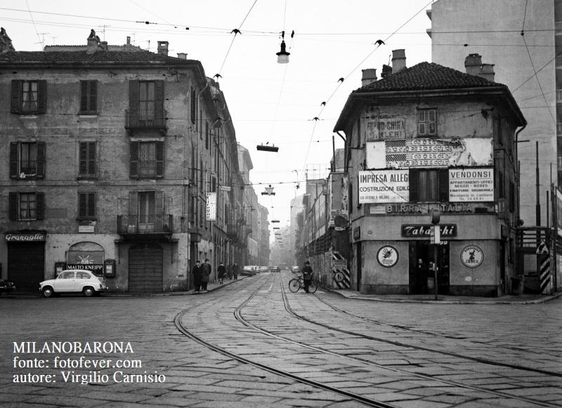 Milano primi anni '60. Piazza Lega Lombarda, bivio Via Bramante e Viale Montello. (fonte fotofever.com ; autore Virgilio Carnisio)