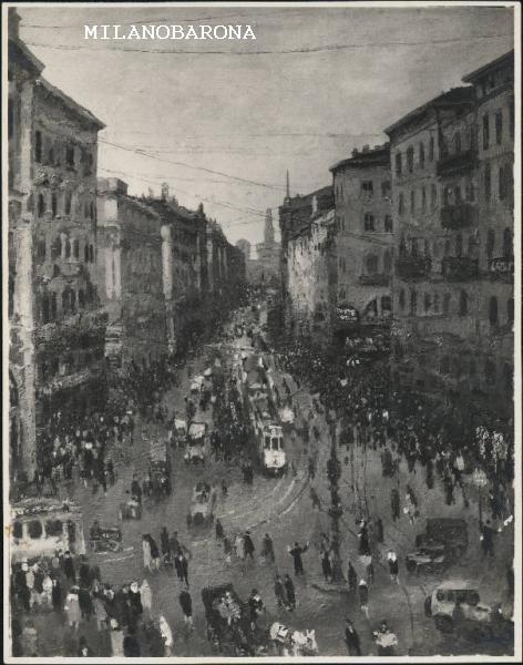 """Dipinto di Michele Cascella intitolato """"Via Orefici a Milano """" (1928 circa). Fotografia di Mari Gianni, fonte web Lombardia beni culturali."""