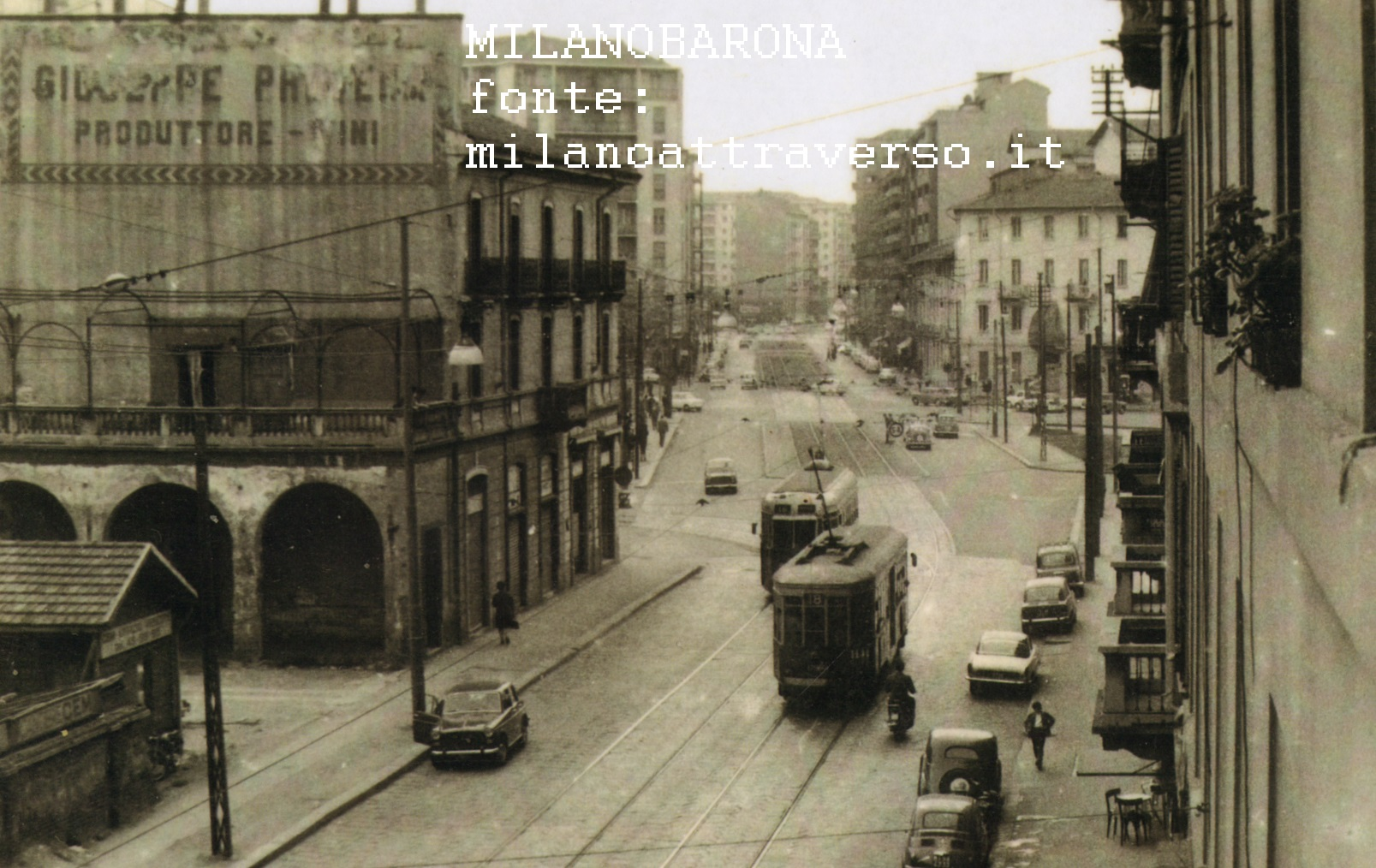Milano primi anni '60, De Angeli. Via Rubens nella direzione di Via Rembrandt. (fonte milanoattraverso.it)