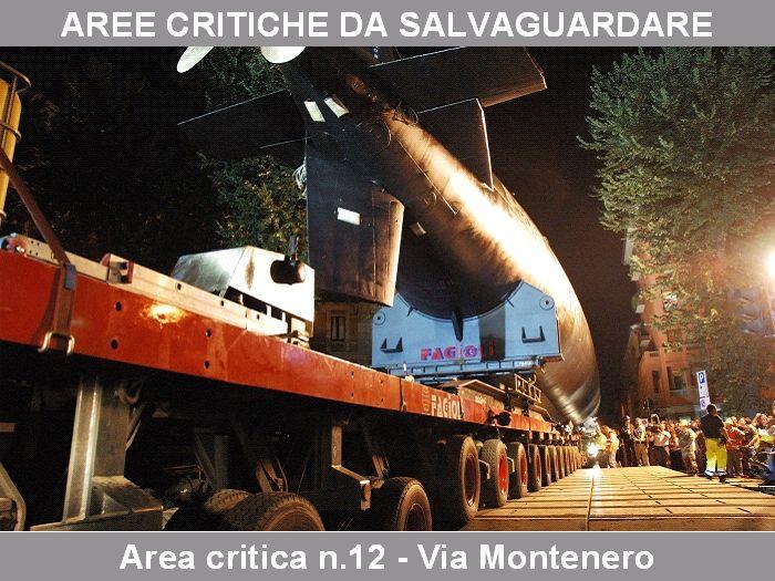 """Milano Agosto 2005. Porta Romana. Viale Montenero durante il trasferimento del sottomarino """"Enrico Toti"""" verso il Museo della Scienza """"Leonardo da Vinci"""". (fonte : http://www.hsh.info)"""