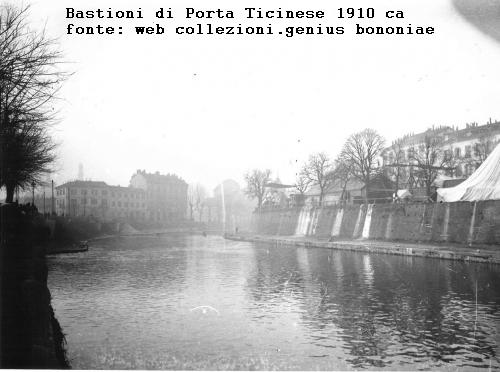 Bastioni di Porta Ticinese 1910 circa. Autore Giuseppe Michelini (fonte web collezioni.genusbononia)