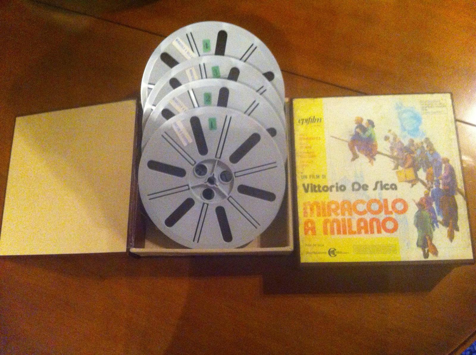 """Bobine pellicola in metraggio """"super 8"""" file """"Miracolo a Milano"""""""