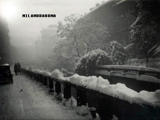 Inverno 1924, Via Visconti di Modrone, cerchia interna dei navigli. Autore Emilio Sommariva, fonte immagine: Lombardia beni culturali.