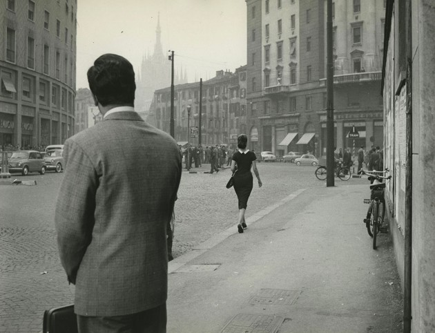 """Verziere-Porta Vittoria 1958. Fotogramma del film """"Nata di Marzo"""" (diretto da Antonio Petrangeli 1958). Fonte immagine web Abitare-Corriere della Sera)"""