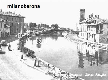 Gaggiano anni '50 del 900. Via Roma lungo il Naviglio Grande. (fonte,:web Fracassi.net)