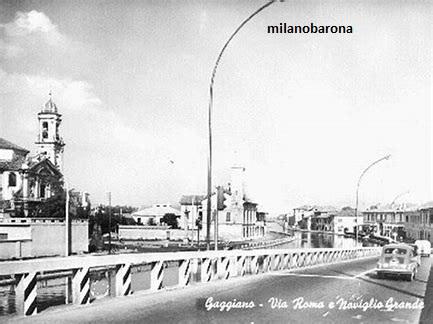 Gaggiano (1970 circa). Via Roma lungo il Naviglio Grande.