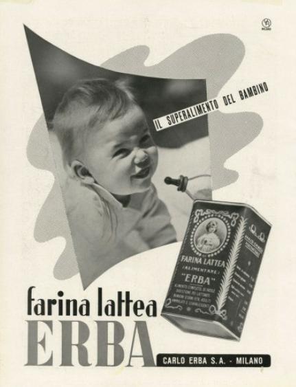 Dergano, decenni '20-'30 del '900. Latte in polvere per alimentazione neonatale Carlo Erba.