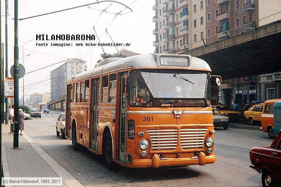 Corvetto 1983. Viale Lucania angolo Piazzale Corvetto, vettura filoviaria 631, FIAT 2405 - Viberti Monotral CV34 / CGE. Fonte immagine: web bkcw-bahnbilder.de