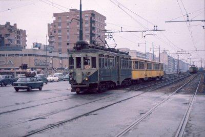 Rottole-Sire Raul, Febbraio 1972, Via Palmanova incrocio Via Carnia, vetture Milano Vimercate sulla tratta delle tranvie per Vaprio d'Adda. (fonte web hrorer.ch)