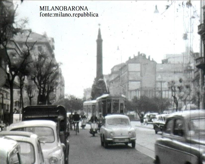 Piazza Cinque Giornate (1959) e Corso 22 Marzo. (fonte fotografica milano.repubblica)