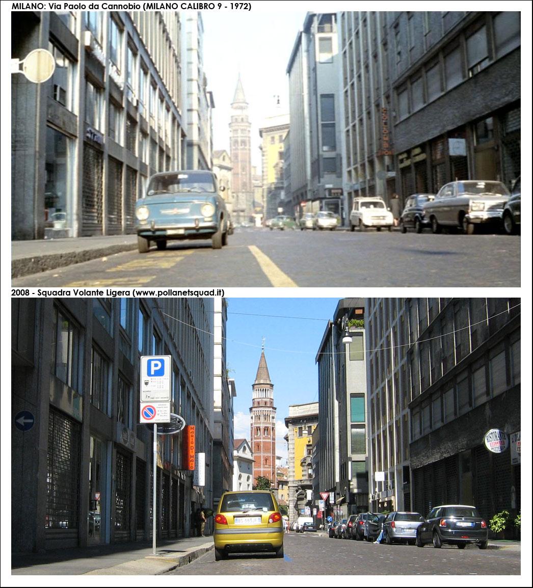 """Forogramma dal film """"Milano calibro 9"""", Via Paolo da Cannobio, verso Via Pecorari, nel 1972. (fonte immagine: web pollanetsquad)"""