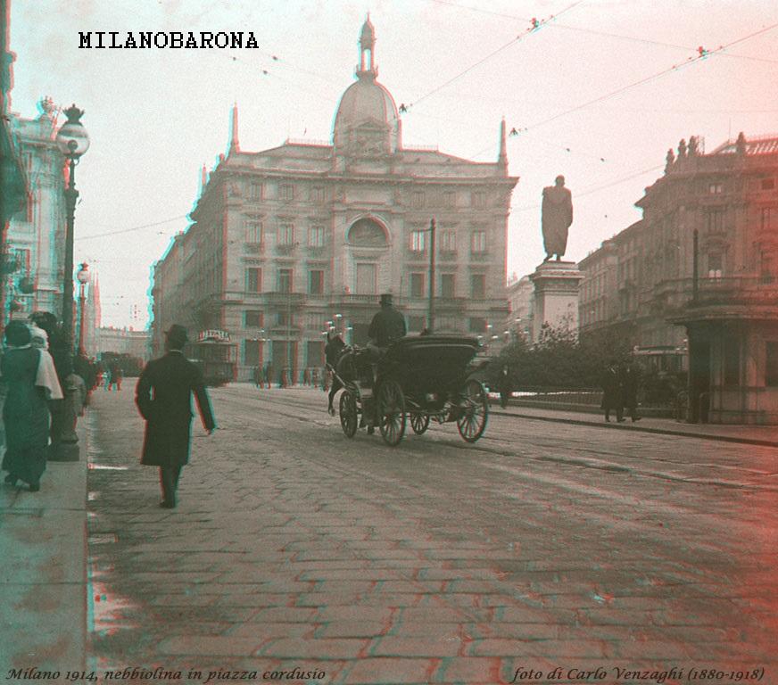 Piazza Cordusio nel 1914 circa. (fonte fotografica web castellodelguado)