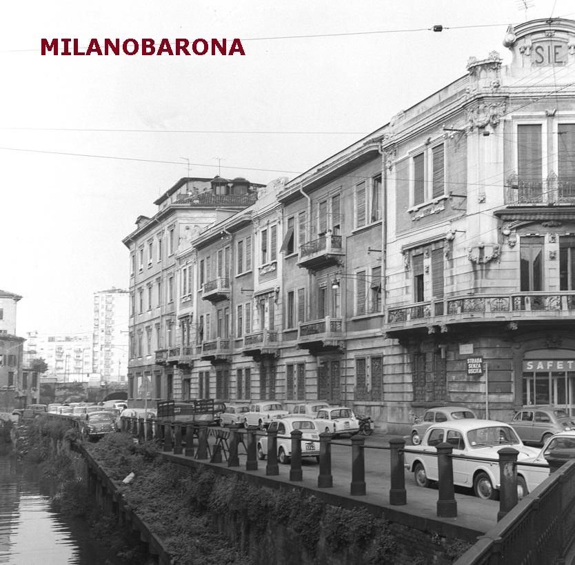 Porta Nuova 1961. Via San Marco con un naviglio della Martesana ancora navigabile. (fonte immagine: geoportale.comune.milano)
