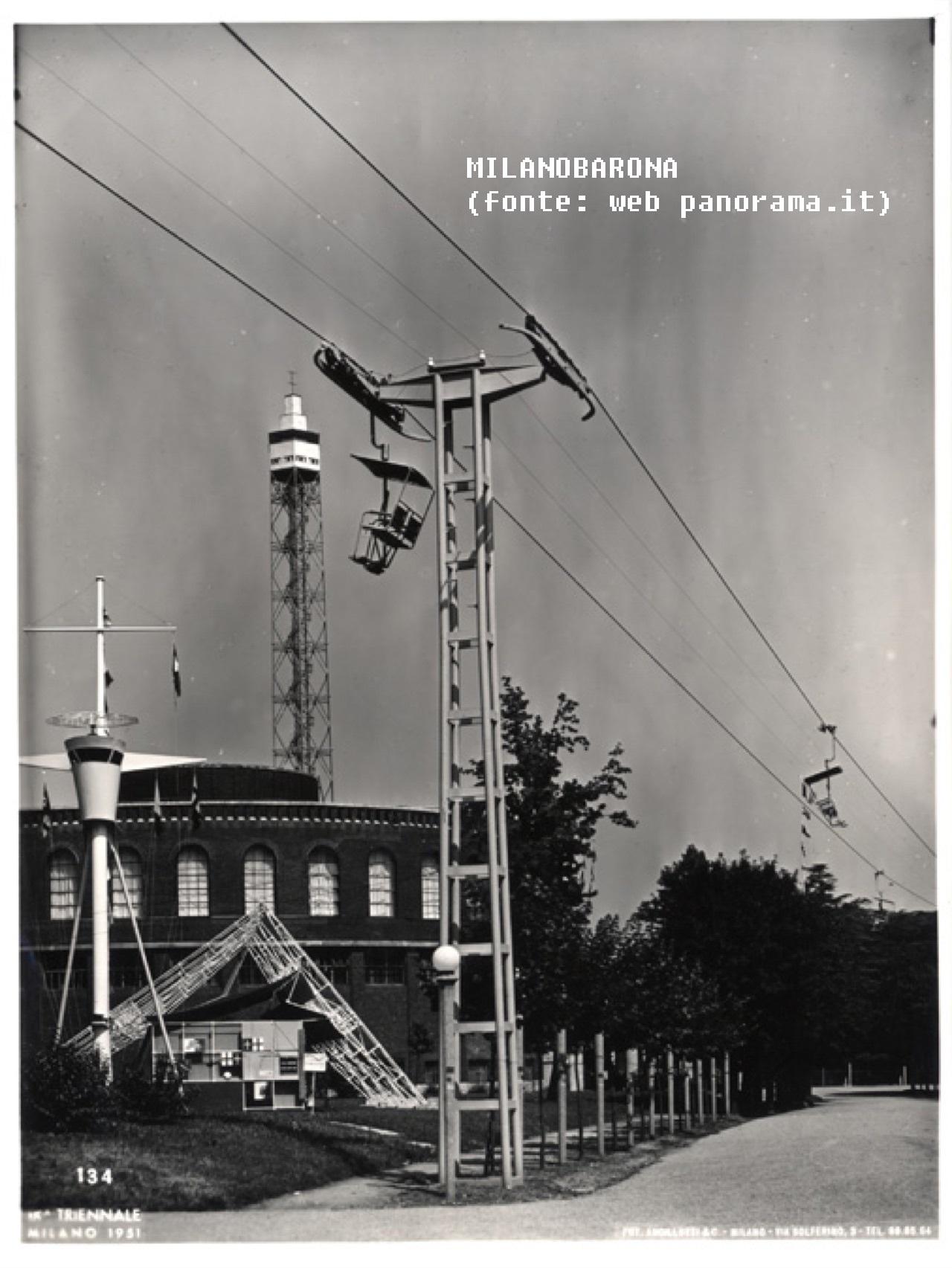 seggiovia parco sempione 1951 circa panorama