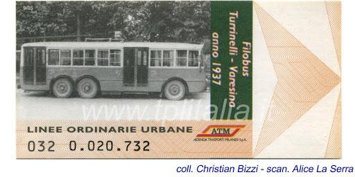 ATM biglietti di convalida rete urbana commemorativi (fine serie e fine formato, antecedenti agli attuali magnetici (per obliteratrici digitali) introdotte a partire dall'estate del 2006, sino in data attuale).