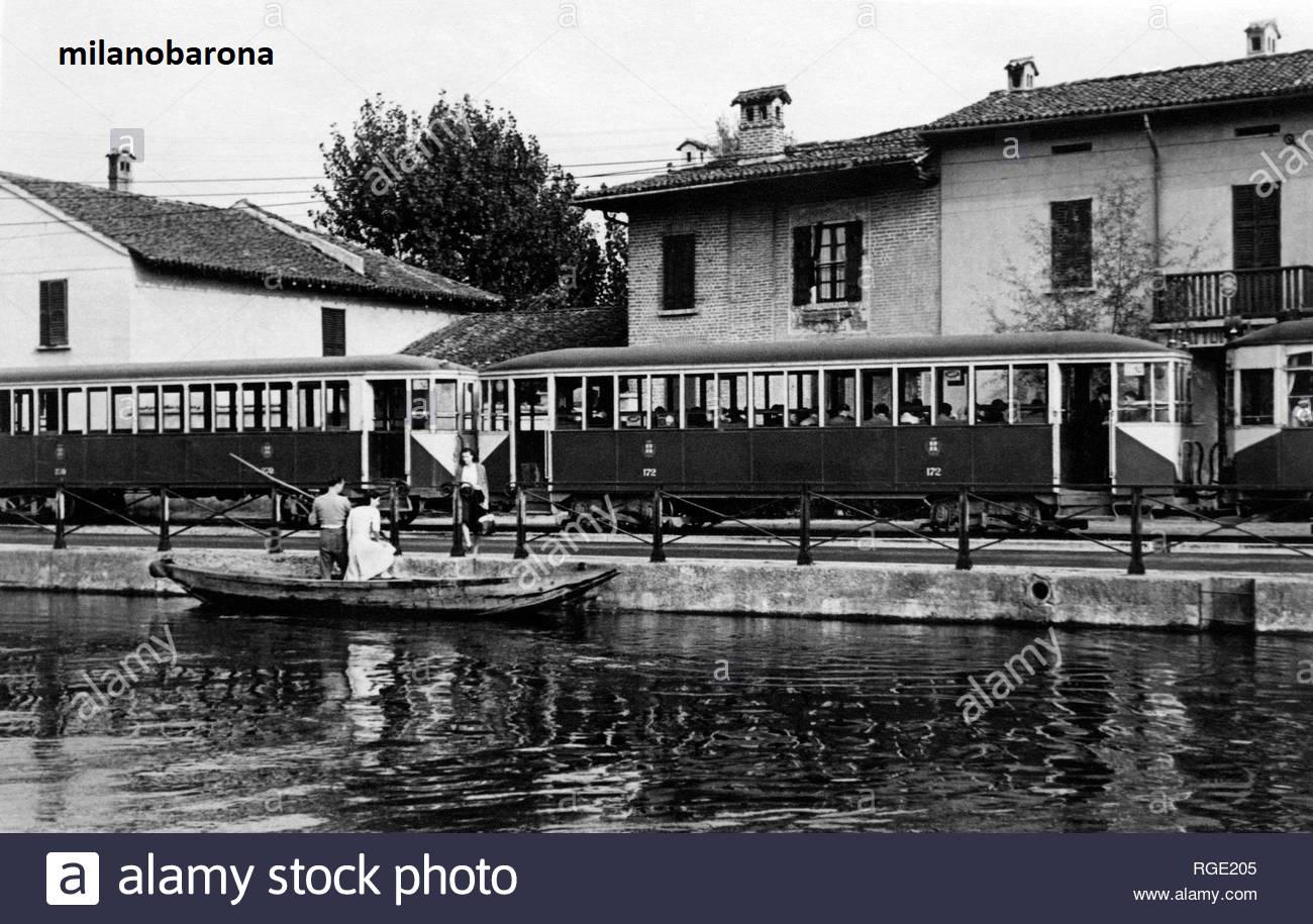 Provincia di Milano immediato dopoguerra. Abbiategrasso. Tramvia Milano Abbiategrasso.