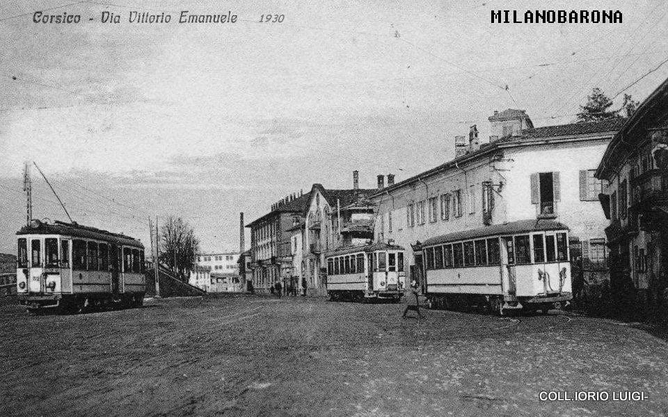 Capolinea tranvia Abbiategrasso Corsico Milano, 1930 (via vittorio Emanuele). Fonte immagine: web ilportaledeitreni