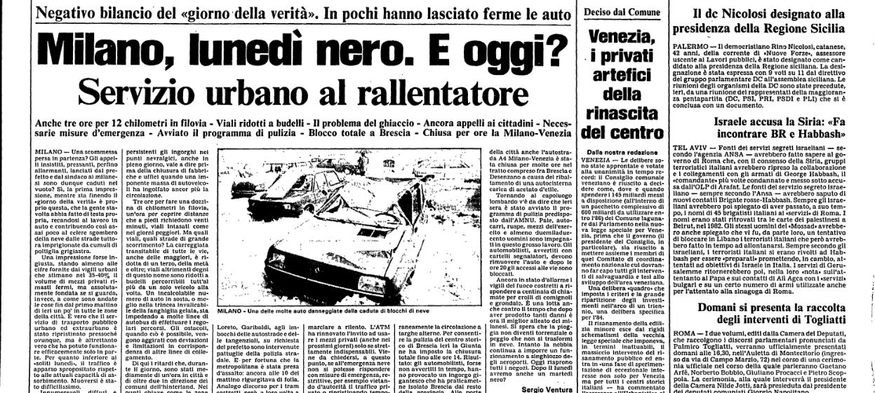 """Articolo Cronaca di Milano de l'Unita del 22 Gennaio relativo ai problemi viabilistici dovuti alla nevicata storica avvenuta tra il 13 e il 16 Gennaio 1985 (1 metro di neve nelle periferie, 80 cm in centro). Se l'evento si ripetesse oggi le ripercussioni sarebbero, sicuramente, ancora più gravi dei tempi che furono... Milano si è, per alcuni aspetti, nello scorrere dei decenni... """"irromanita""""... oggi sono sufficienti 15 cm per avere gli stessi effetti di paralisi della maxi nevicata di 36 anni fa..."""