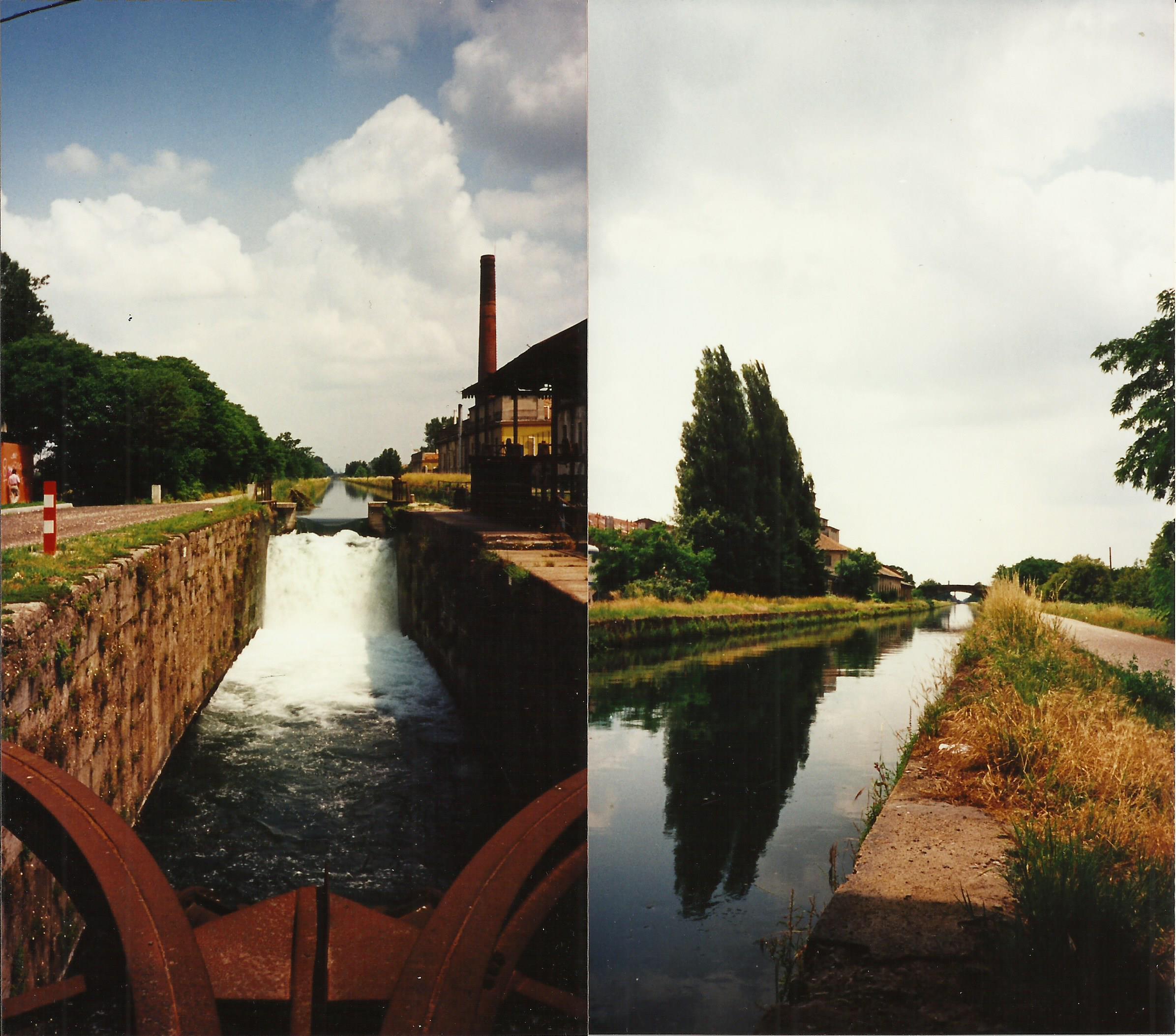 Rozzano, Conc di Rozzano lungo il Naviglio Pavese, chiuse ed edificio della vecchia Filanda di Rozzano (1995). Fonte fotografica p