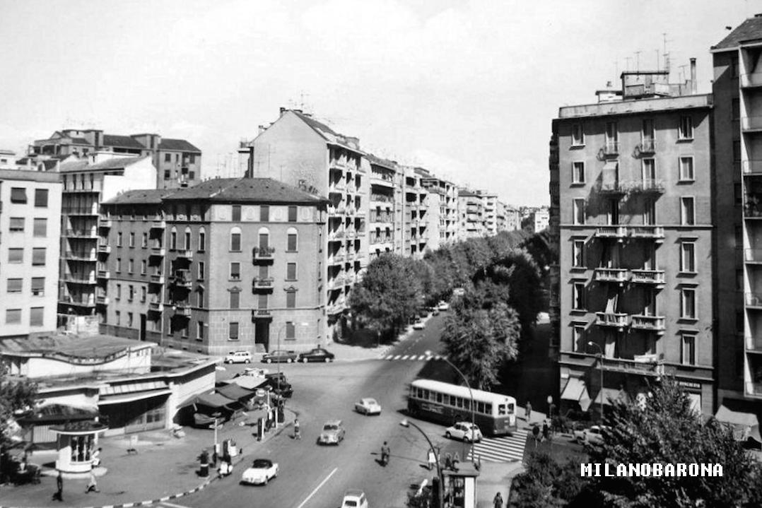 Solari anni '60. Incrocio Via Vincenzo Foppa con Via dei Grimani e Via G.Washington. (fonte web requadro.com)