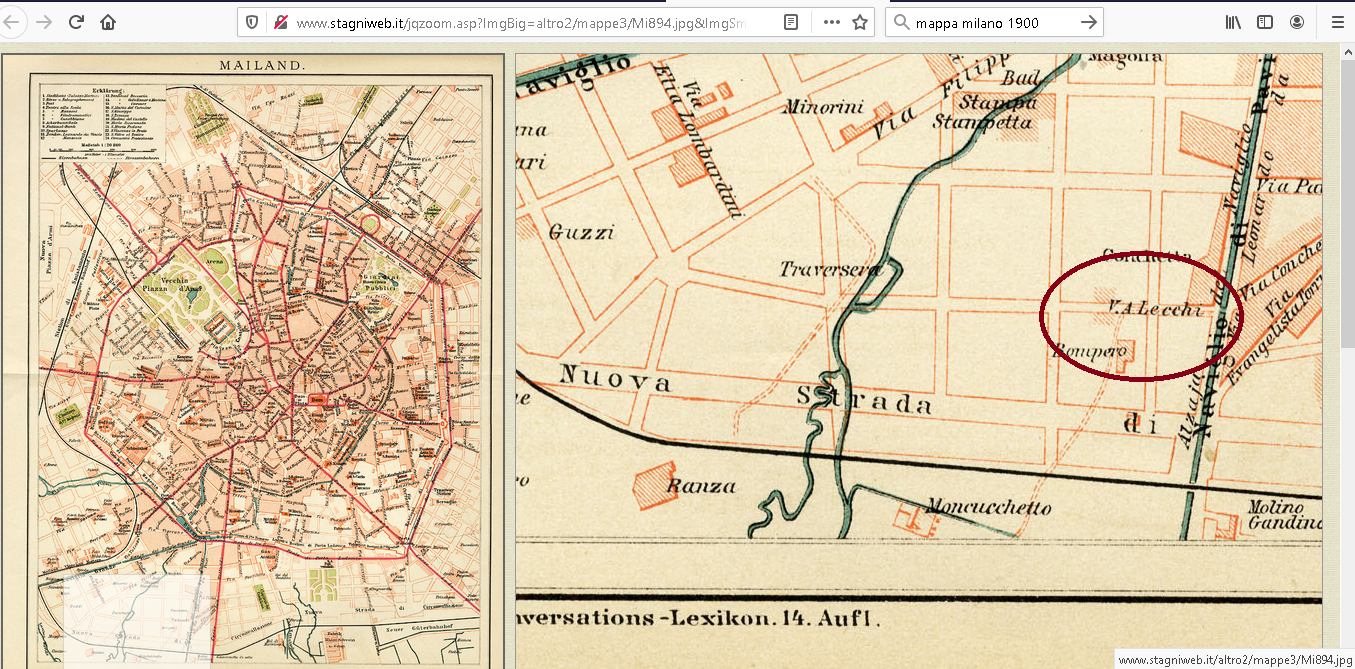 Mappa di Milano, 1894 circa. Fonti: http://www.stagniweb.it/foto6.asp?File=mappe883&righe=1&inizio=7&InizioI=1&RigheI=100&Col=5